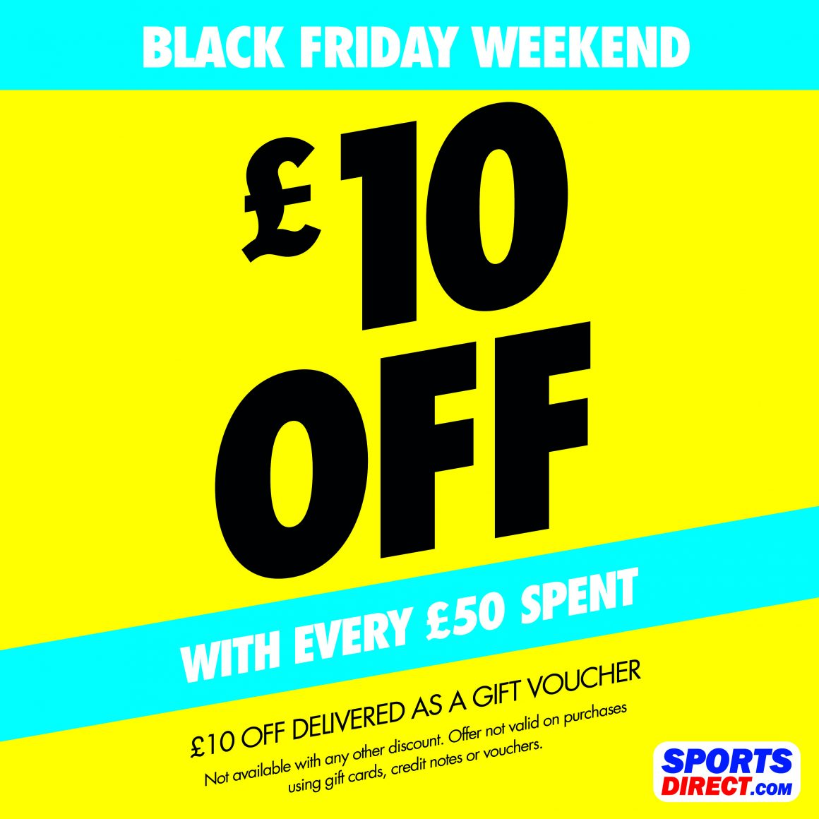 £10 VOUCHER AT SPORTS DIRECT WHEN YOU SPEND £50 OR MORE